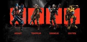 Les quatre classes dans Evolve