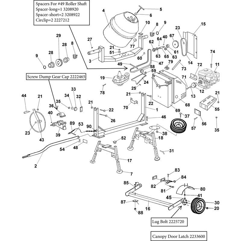 Imer Workman 350 II Electric Concrete Mixer Parts