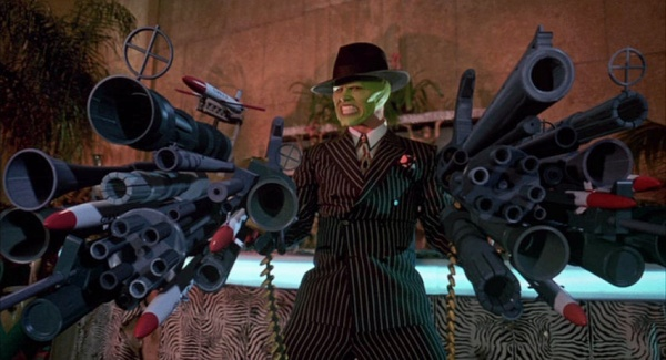 Image result for the mask lots of guns