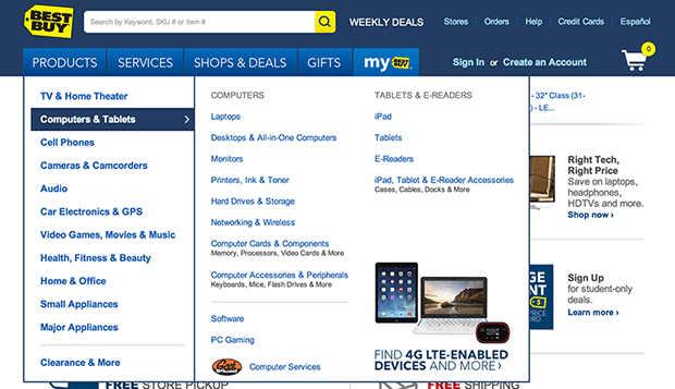 Mega Drop down menu example (Best Buy)