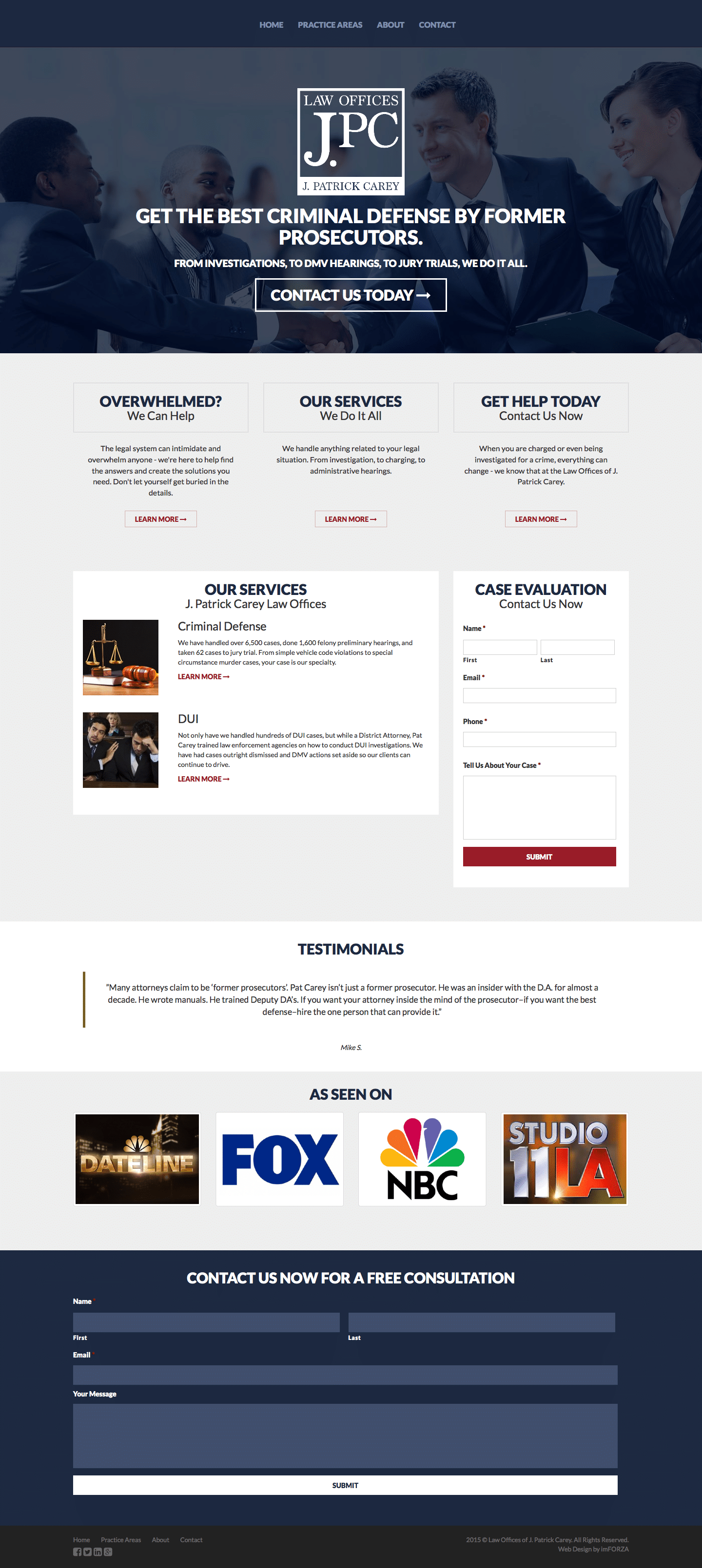 Custom WordPress Website for the Law Office of J. Patrick Carey