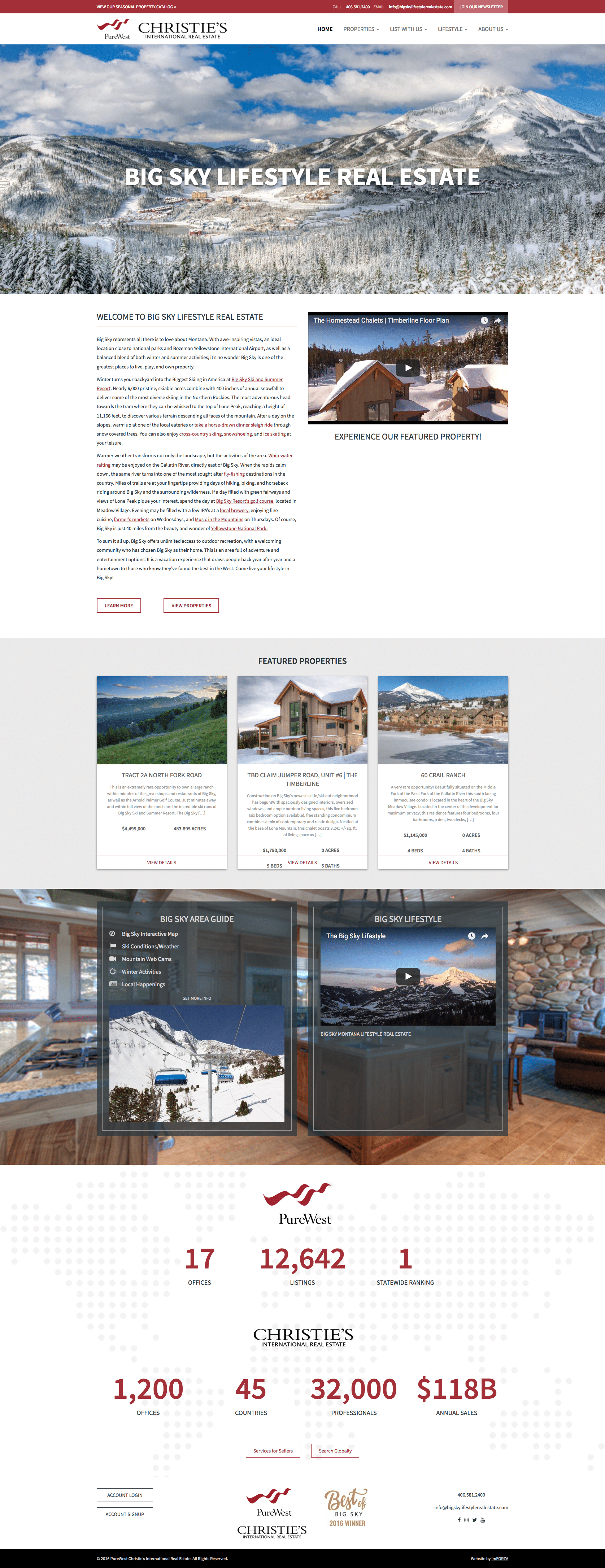 Big Sky Lifestyle Real Estate - WordPress Real Estate Website by imFORZA