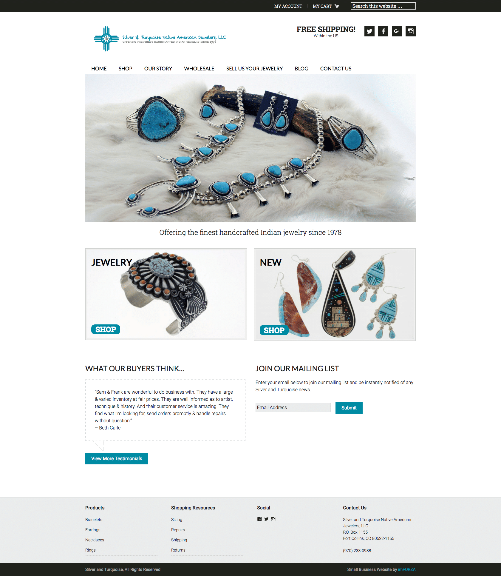Silver & Turquoise Jewelry - Template eCommerce Website by imFORZA