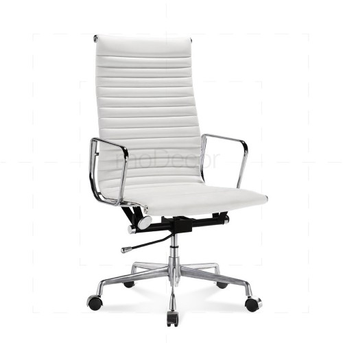 Eames Office Chair  Ribbed  High Back White
