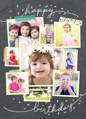 Photo Collage On Chalkboard Happy Birthday Card Cardstore