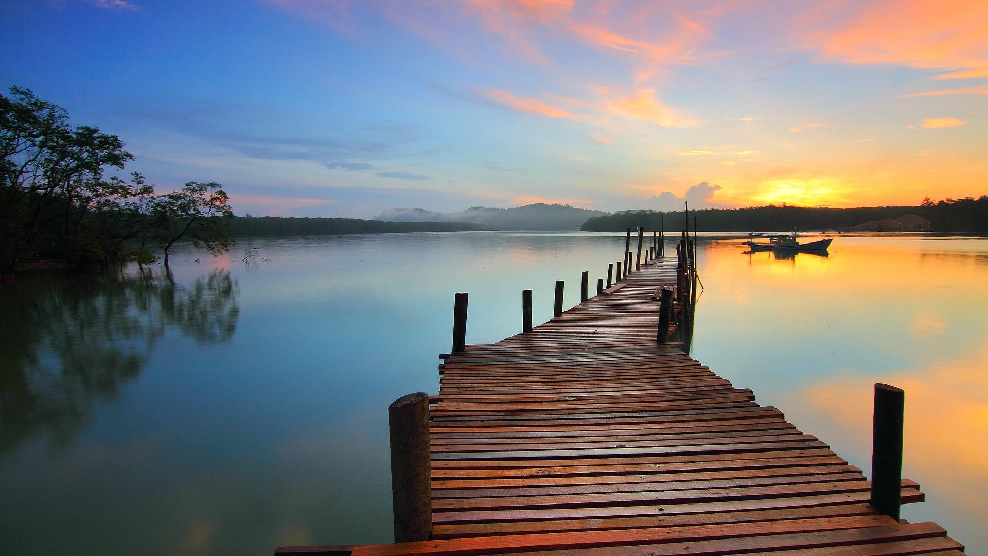 lake sunrise hd wallpaper