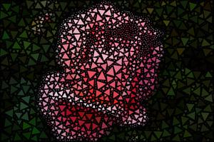 Фотография розы, сделанная из треугольников