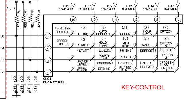СВЧ Samsung M1736NR переделка клавиатуры