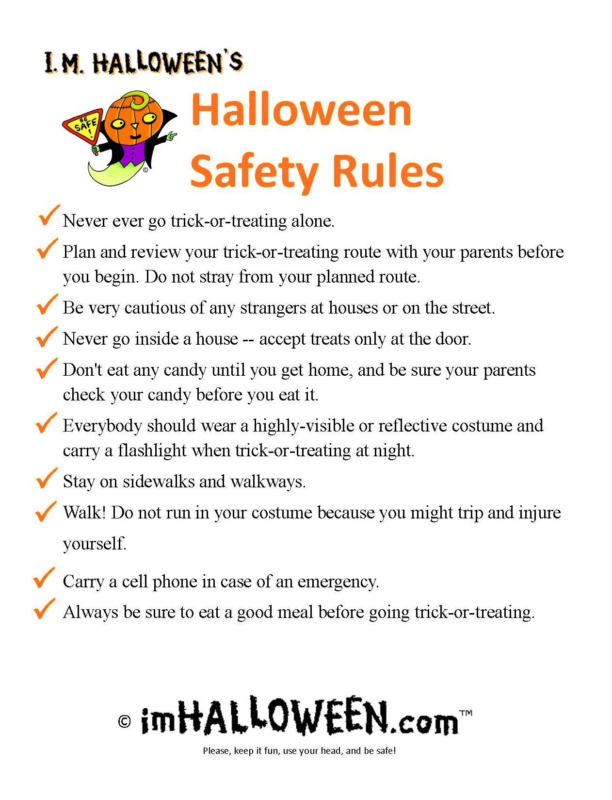 Printable Halloween Safety Rules