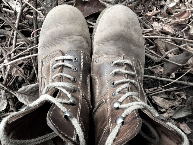 picture of old work boots from above