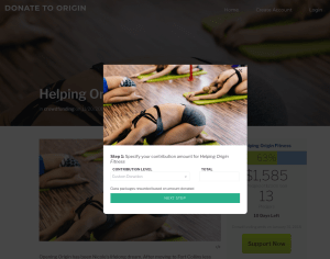 Crowdfunding website for Origin House of Fitness ecommerce screenshot