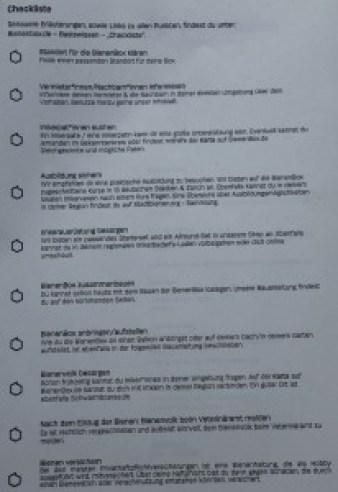 Bienenbox Checkliste
