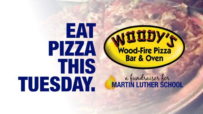 eat pizza this sunday woody's wood-fire pizza martin luther school joplin missouri