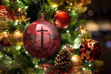christmas ornament cross reflection immanuel lutheran church joplin missouri