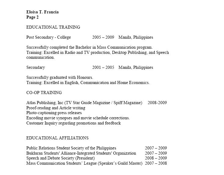 sample resume for job application in canada
