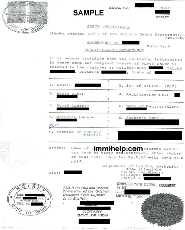 Sample English Translation of Birth Certificate from India
