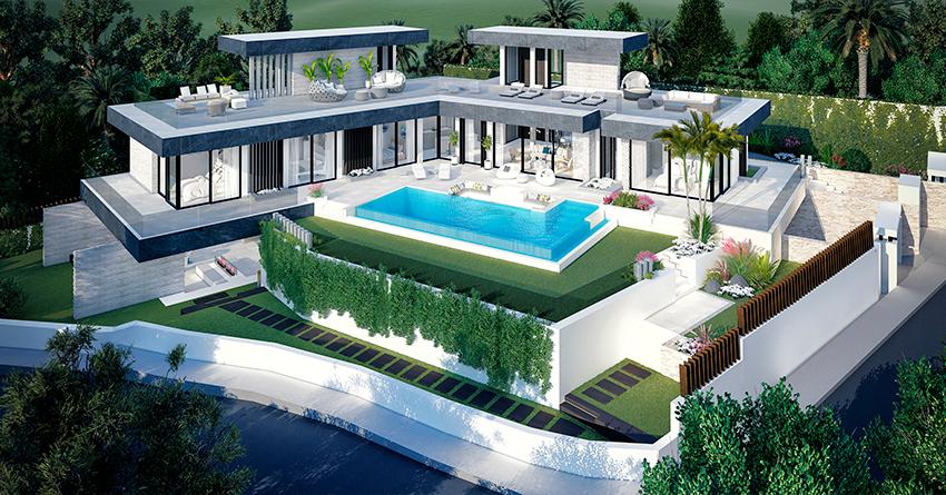 Villa sur plan de 4 chambres avec vue sur la mer sur la Costa del Sol Benahavis1