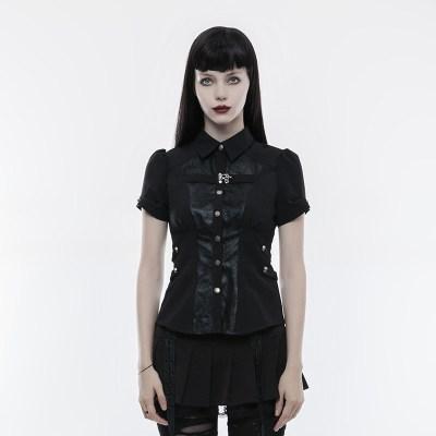 9ac36b86f6f32a Amoret Women's Black Short Sleeve Skull Shirt