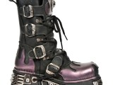 Flame Leather Platform Boots – Purple – 591-S5