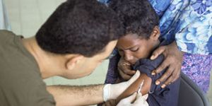 Somali Boy Receives Polio Vaccine