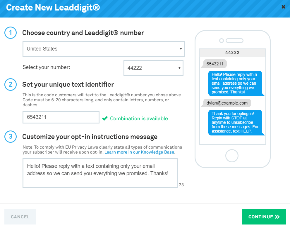 leadpages opt-in texts