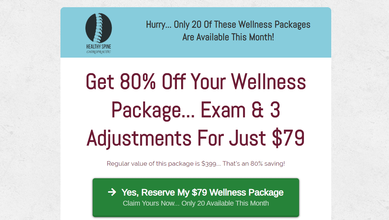 chiropractic email offer