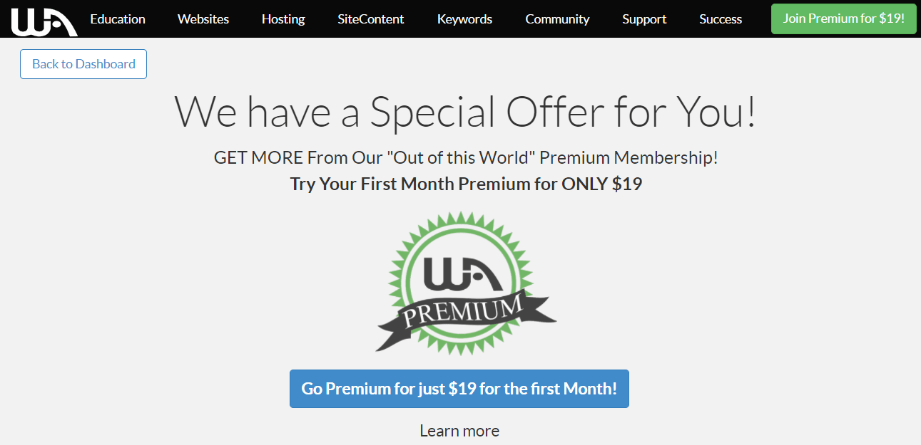 pricing wealthy affiliate