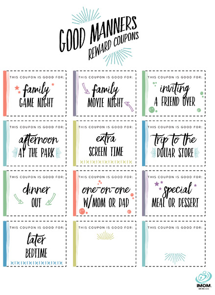 Good Manners Reward Coupons IMom