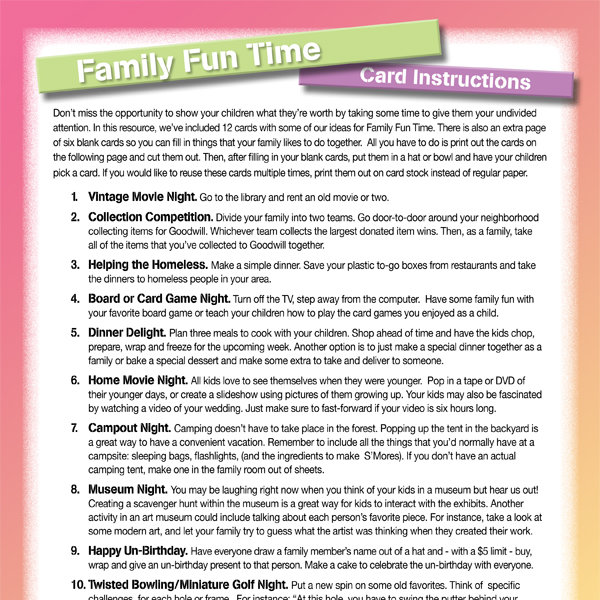 Family Fun Time Cards IMom
