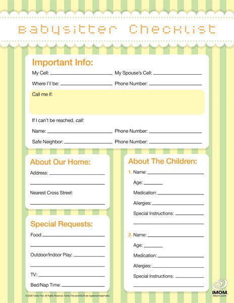 checklist form template