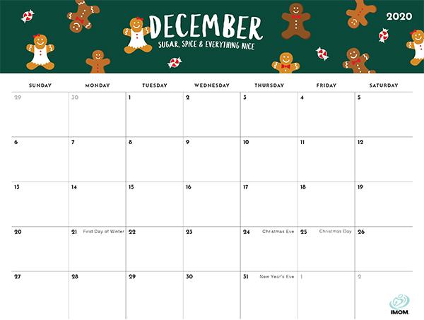 2020 Foodie Printable Calendar for Moms - iMom