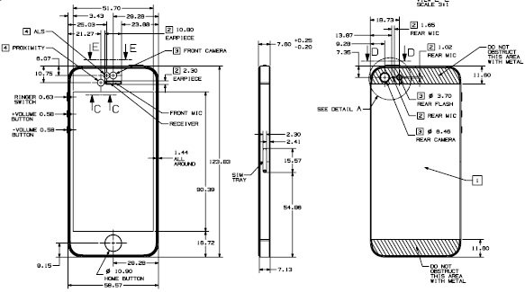 iPhone 5 fully dimensioned design drawing available for