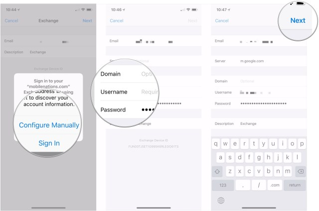 How to set up mail on iPhone or iPad by showing steps: Tap Configure Manually, enter account info, tap Next