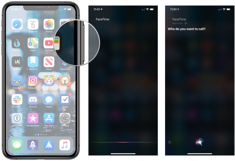 Use Siri to place a FaceTime call, showing how to activate Siri by pressing the Side button, then say FaceTime, followed by the person's name