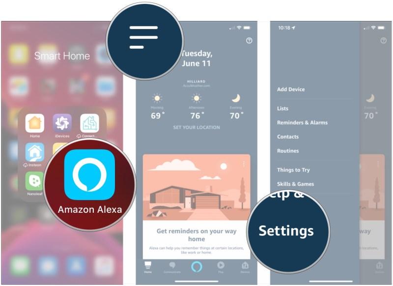 Mở Alexa, nhấn menu, nhấn Cài đặt