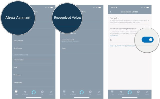 Tap Alexa Account, tap Recognized Voices, tap switch