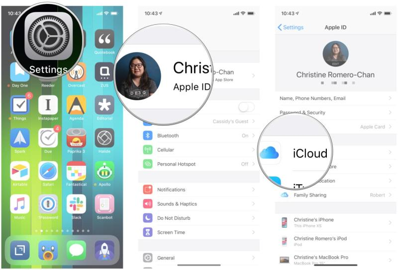 Enable iCloud backup on iPhone and iPad by showing steps: Launch Settings, tap your Apple ID, tap iCloud