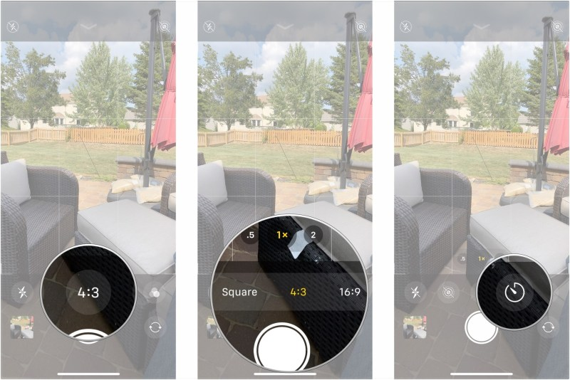 Tap Live Photos, tap Auto, on, or off, tap aspect ratio button