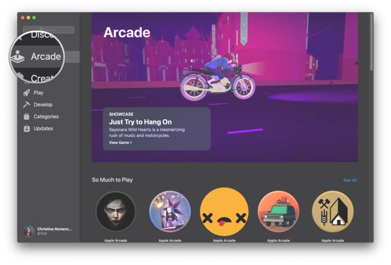 How to select and start playing a game on Apple Arcade on Mac by showing steps: Click Arcade tab on App Store