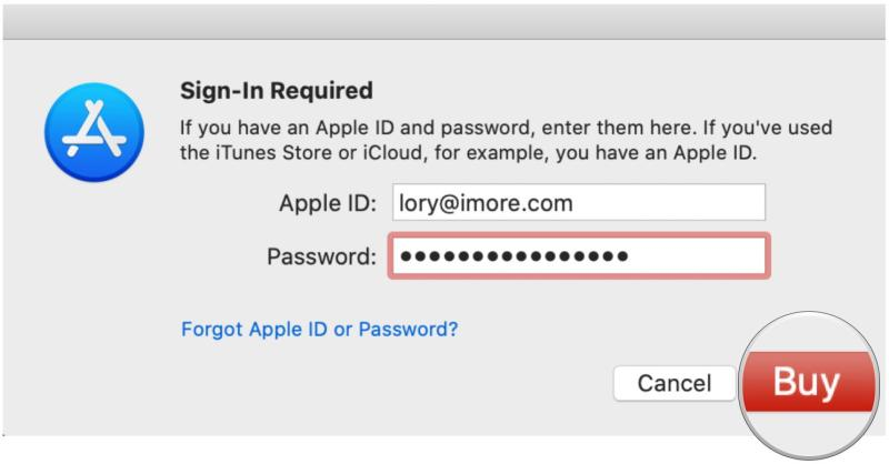 Sign up for Apple Arcade on Mac by showing steps: Enter Apple ID credentials, click Buy