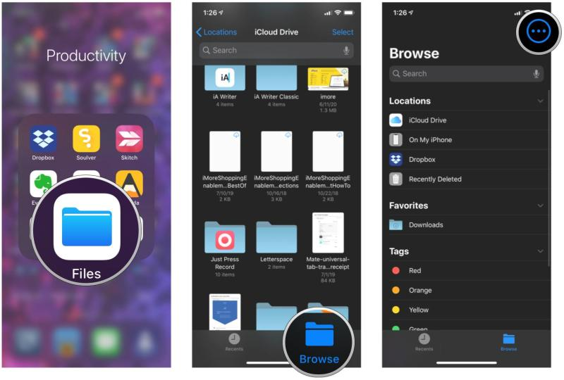How to add a third-party syncing service or app to Files on iPhone and iPad by showing: Launch Files, tap Browse, tap the