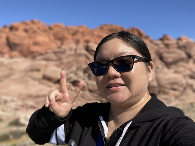 Christine takes a selfie at Red Rock Canyon in Nevada