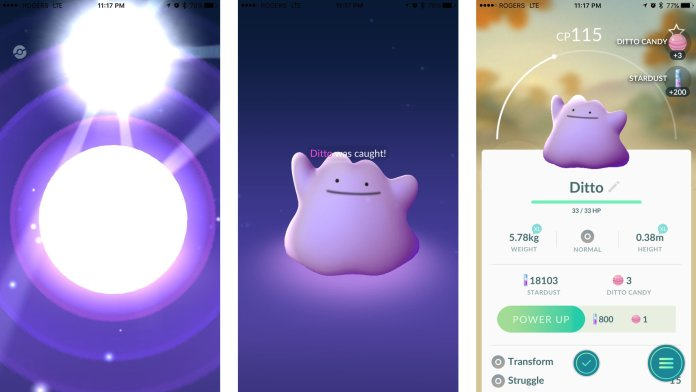 Pokemon Go Ditto screenshots