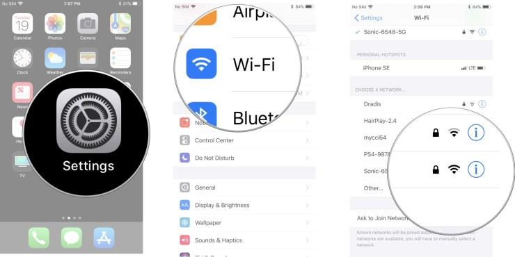 Tap Settings, then tap Wi-Fi, then tap a network