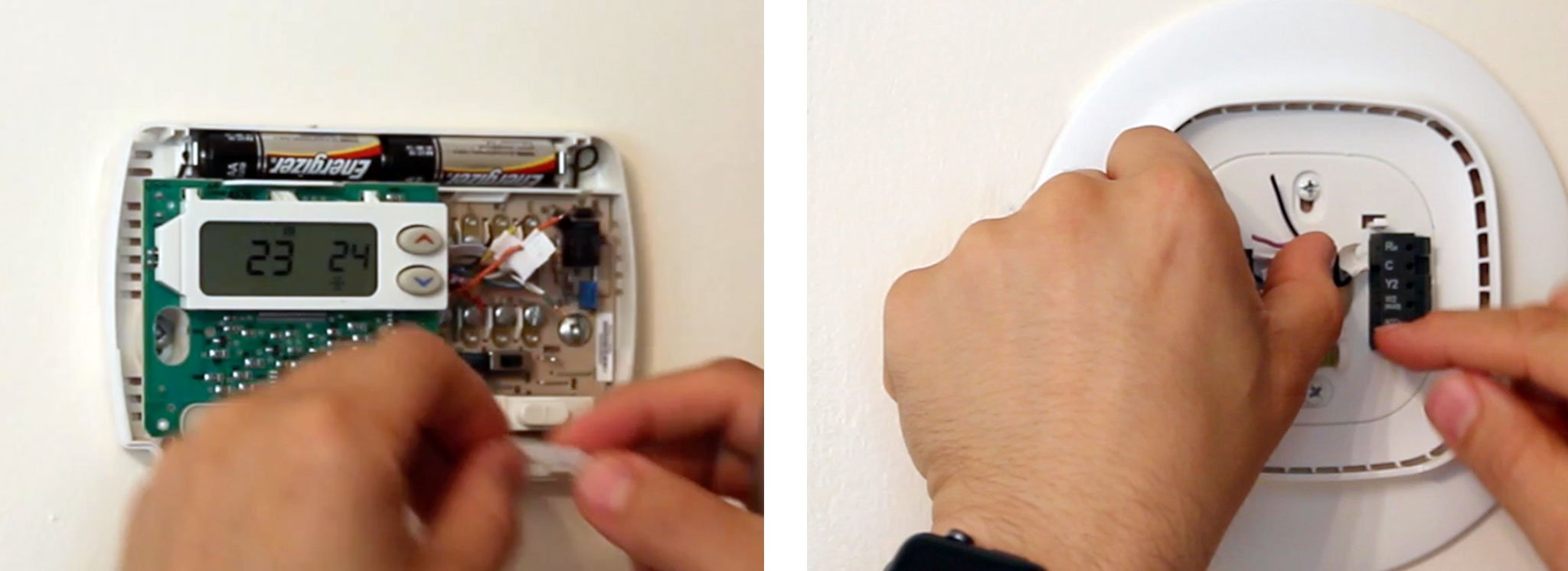 if you have a wired labeled c then you can go ahead and connect the labeled wires into the associated connector on the ecobee connector plate  [ 1600 x 583 Pixel ]