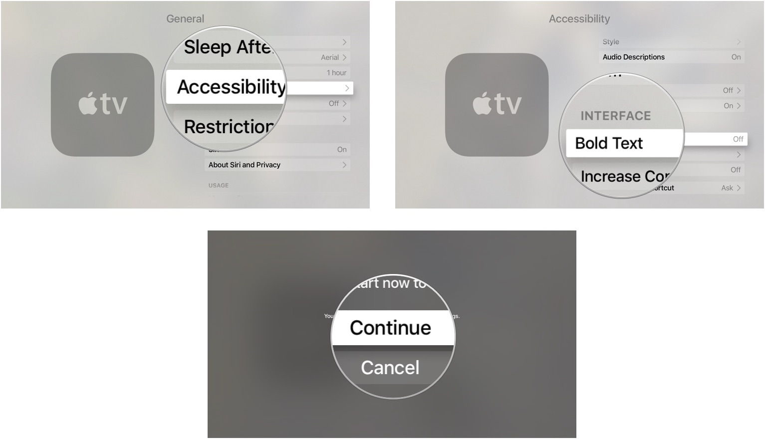 enabling bold text on apple tv [ 1533 x 880 Pixel ]