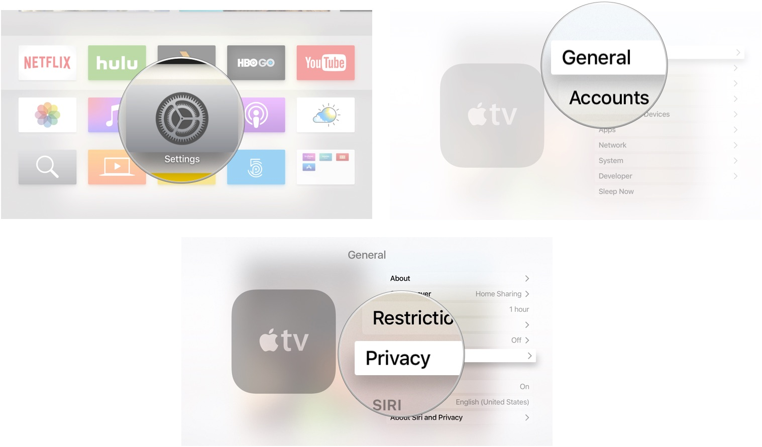 opening the settings app on apple tv [ 1517 x 890 Pixel ]