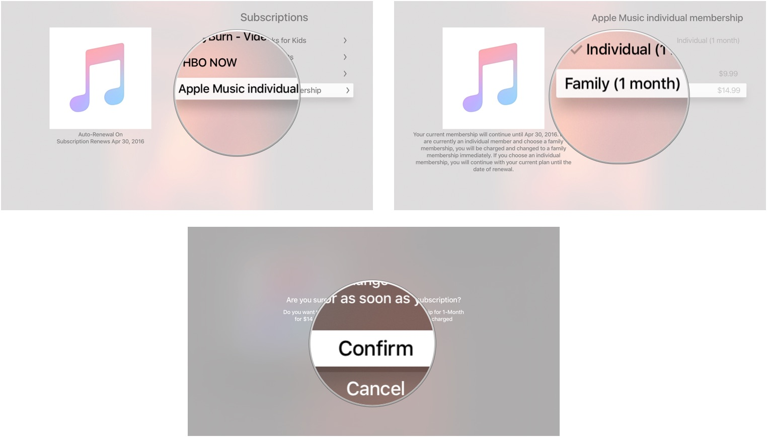 hight resolution of changing a renewal type of subscription on apple tv