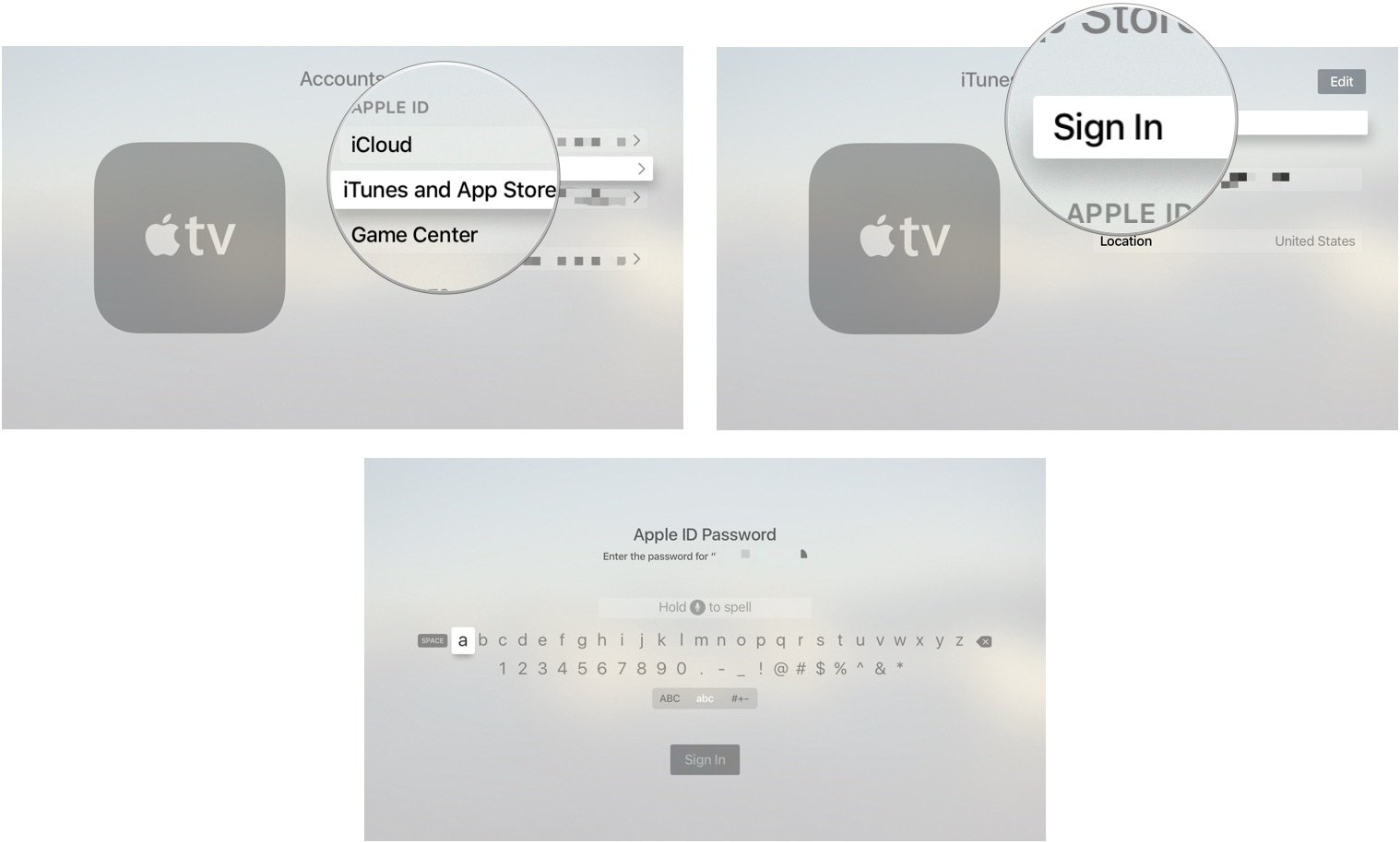 hight resolution of signing in to itunes on apple tv
