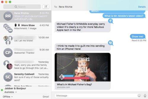 messages mac os sierra